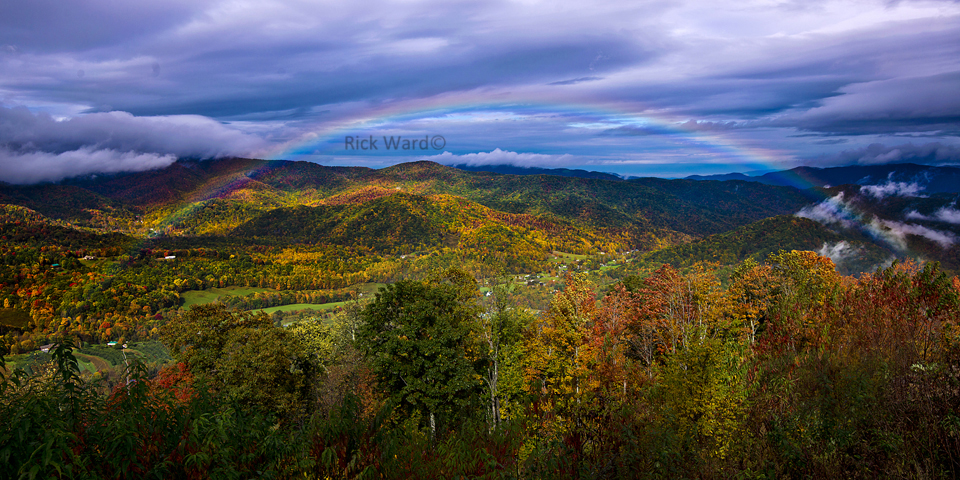 Rainbow over Mountains 16 X 32 in.
